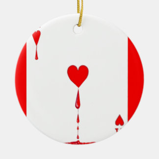 Bleeding Heart Aces Card by Sharles Round Ceramic Decoration