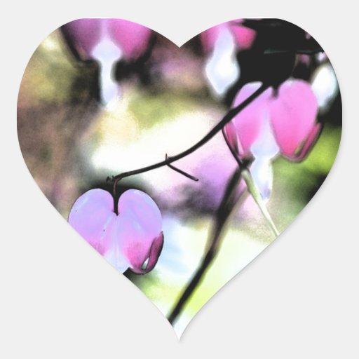 Bleeding Heart Floral Heart Stickers