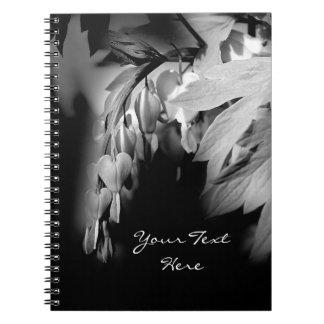 Bleeding Heart Flower Black And White Spiral Note Book