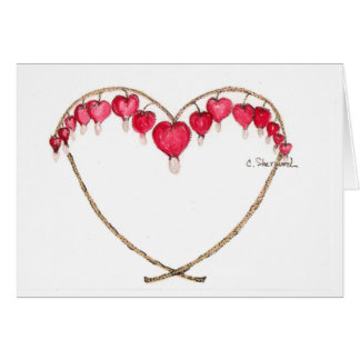 Bleeding heart flower card