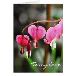 Bleeding Heart Flower Valentine Greeting Card