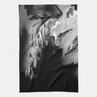 Bleeding Heart Flowers In Black And White Towels