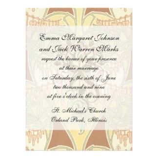 bleeding heart flowers vintage art nouveau pattern personalized invites