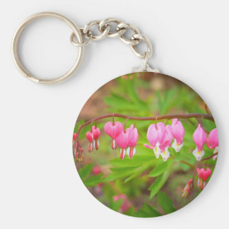 Bleeding Heart Flowers With Heart Petals Basic Round Button Key Ring