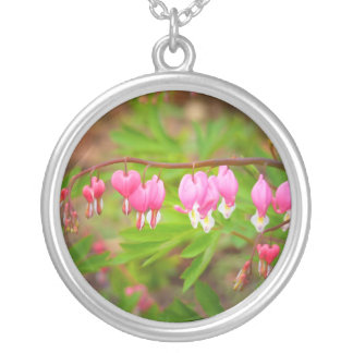 Bleeding Heart Flowers With Heart Petals Round Pendant Necklace