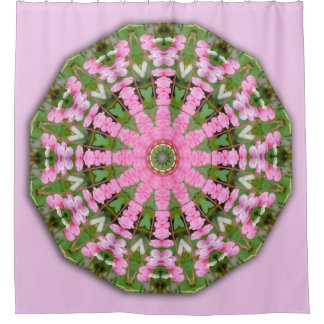 Bleeding Heart Nature, Flower-Mandala Shower Curtain