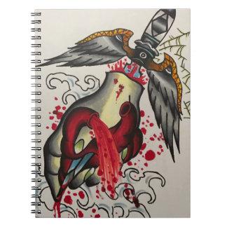 bleeding heart note pad spiral note book