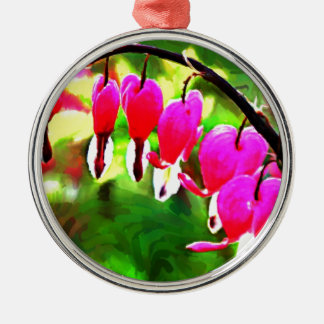 Bleeding Hearts art photo Silver-Colored Round Decoration