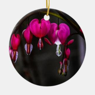 Bleeding Hearts Flower Round Ceramic Decoration
