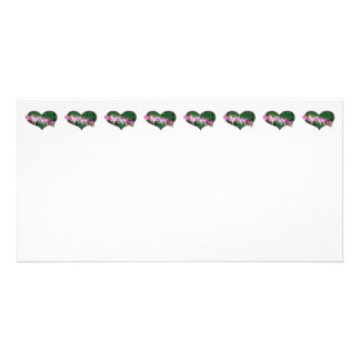 Bleeding Hearts in Heart Personalized Photo Card
