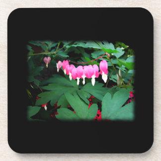 Bleeding Hearts Pink Flowers Beverage Coasters