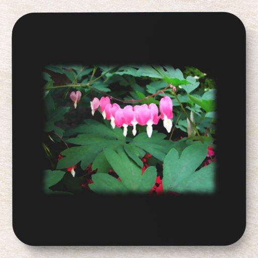 Bleeding Hearts. Pink Flowers. Beverage Coasters