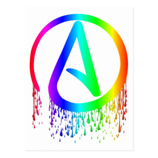 bleeding rainbow Atheist symbol Postcard