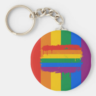 Bleeding Rainbow Basic Round Button Key Ring