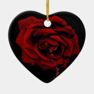 Bleeding Rose Ceramic Heart Decoration