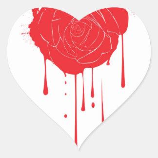 Bleeding Rose Heart Sticker