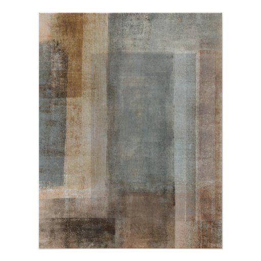 'Blended' Grey and Beige Abstract Art Poster