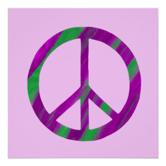 Blended Purple and Green Peace Sign Posters