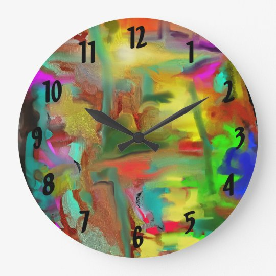 Blending Colours Digital Abstract w Numbers Large Clock