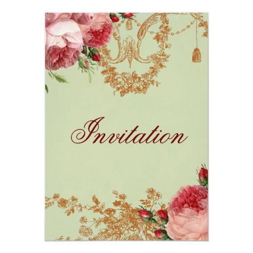Blenheim Rose- Elegant Sage Green 13 Cm X 18 Cm Invitation Card