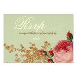 Blenheim Rose- Elegant Sage Green RSVP 9 Cm X 13 Cm Invitation Card