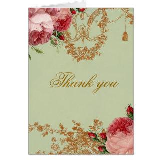 Blenheim Rose - Elegant Sage Green Thank You Greeting Card