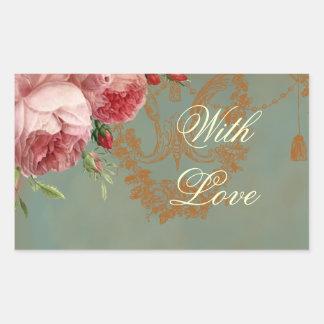 Blenheim Rose With Love Rectangular Sticker