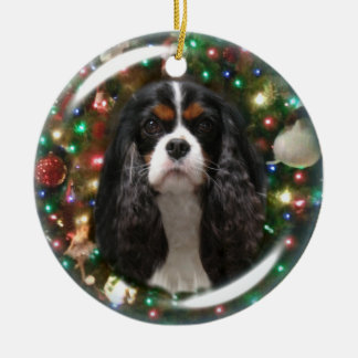 Blenheim & Tricolor Cavalier King Charles Spaniel Round Ceramic Decoration