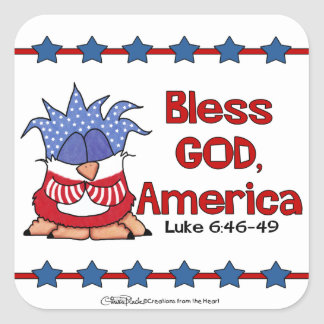 Bless God, America- Luke 6:46-49-Birds of Pray Square Sticker