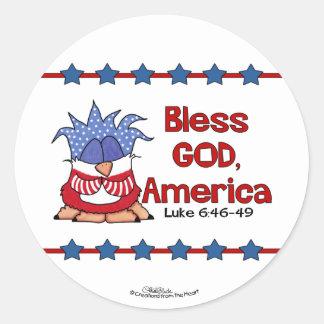Bless God, America- Luke 6:46-49-Birds of Pray Round Sticker