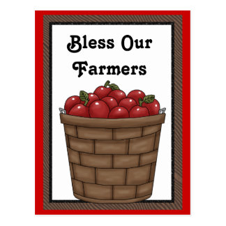 Bless our Farmers fun apple bushel postcard