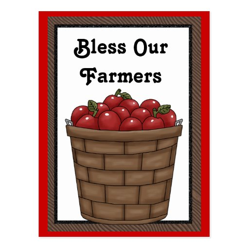 Bless our Farmers fun apple bushel postcard
