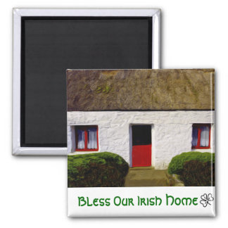 Bless Our Irish Home Thatch Cottage Square Magnet