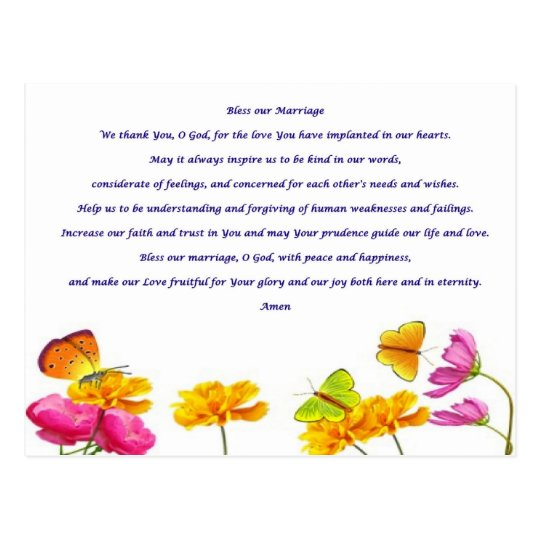 Bless our Marriage prayer Postcard