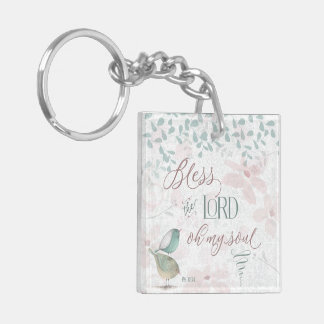 Bless the Lord - Ps 103:1 Double-Sided Square Acrylic Key Ring