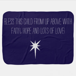 """Bless this child"" blue baby blanket"