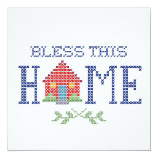 Bless This Home Cross Stitch Embroidery 13 Cm X 13 Cm Square Invitation Card