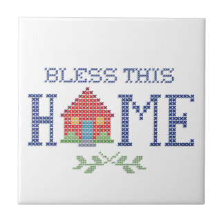 Bless This Home Cross Stitch Embroidery Small Square Tile