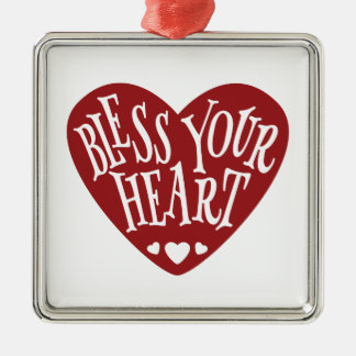 Bless Your Heart in Heart Silver-Colored Square Decoration