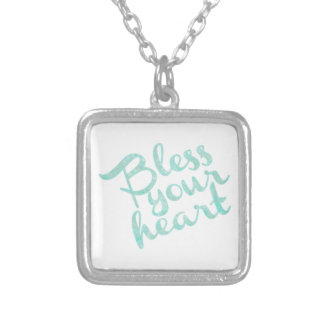 Bless Your Heart Turquoise Sparkle Square Pendant Necklace