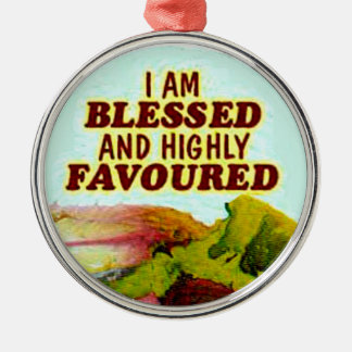 blessed and favoured necklace christmas ornament
