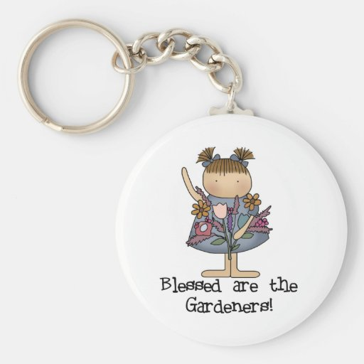 Blessed are the Gardeners Tshirts and Gifts Basic Round Button Key Ring