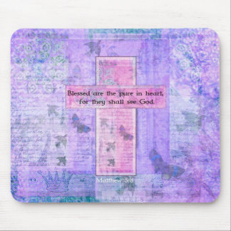 Blessed are the pure in heart BIBLE VERSE Mouse Mat