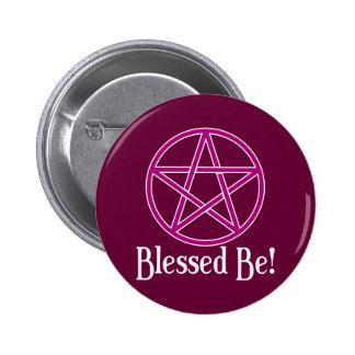 Blessed Be Pentagram 6 Cm Round Badge