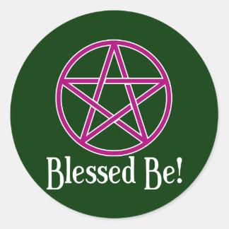 Blessed Be Pentagram Round Sticker