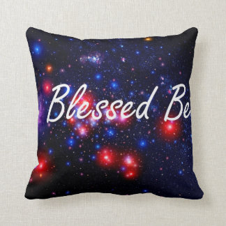Blessed Be saying against dark space image Cushion