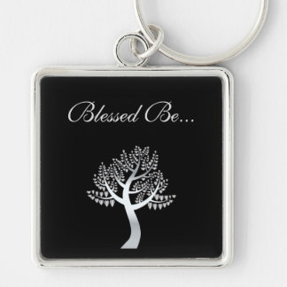 Blessed Be... Silver-Colored Square Key Ring