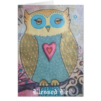 Blessed be whimsical owl card