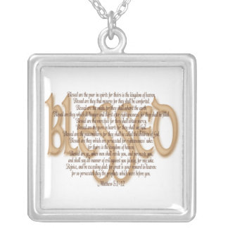 Blessed - Beatitudes Square Pendant Necklace