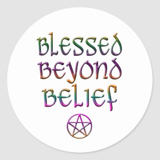 blessed beyond belief classic round sticker